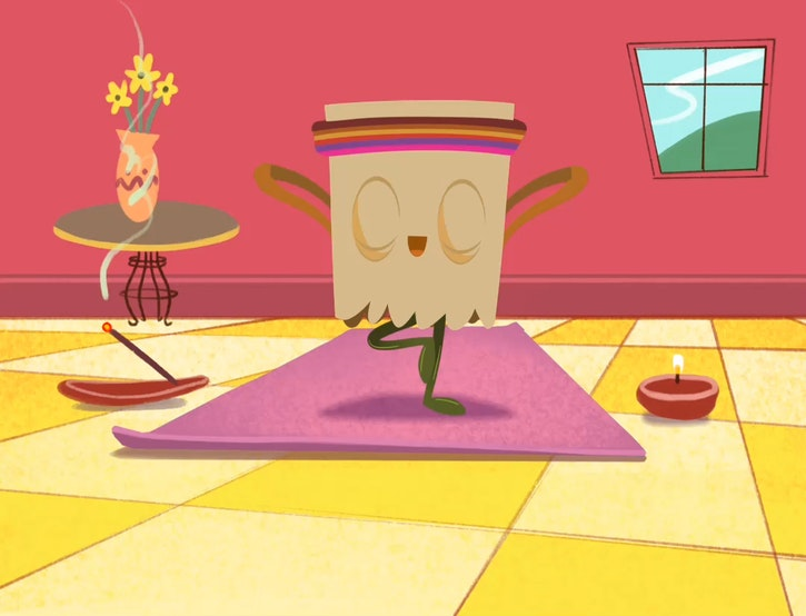 Character in a mindful yoga pose on mat