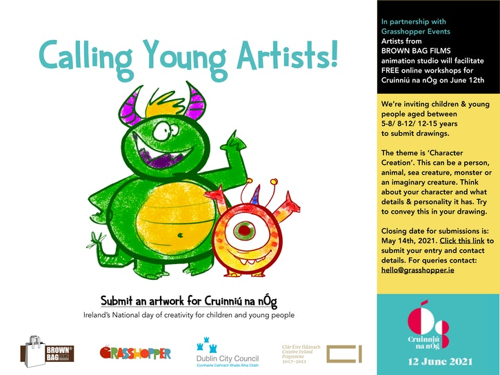 Poster for Character Creation Workshops with Cruinniú na nÓg