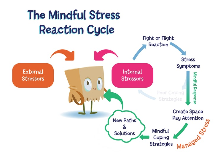 A diagram of the mindful stress reaction cycle